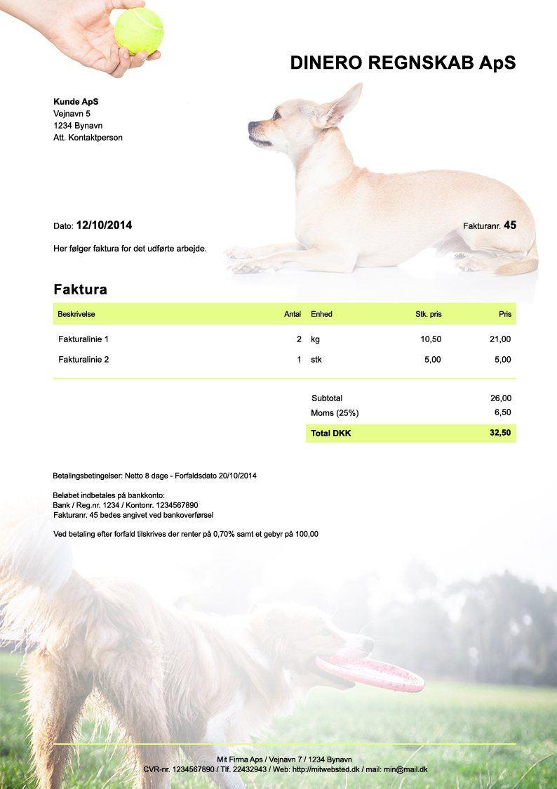 Fakturaskabelon til hundetræner