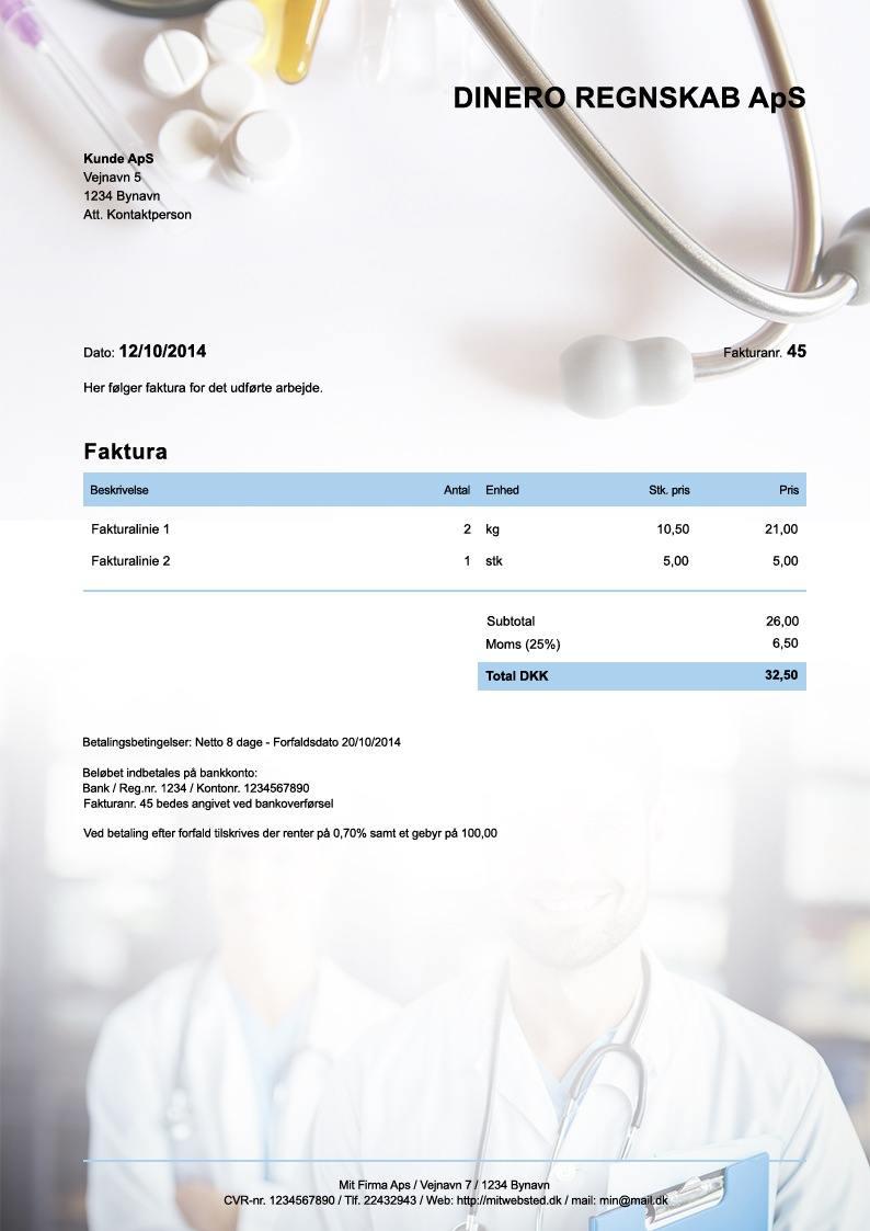 Fakturaskabelon til læge