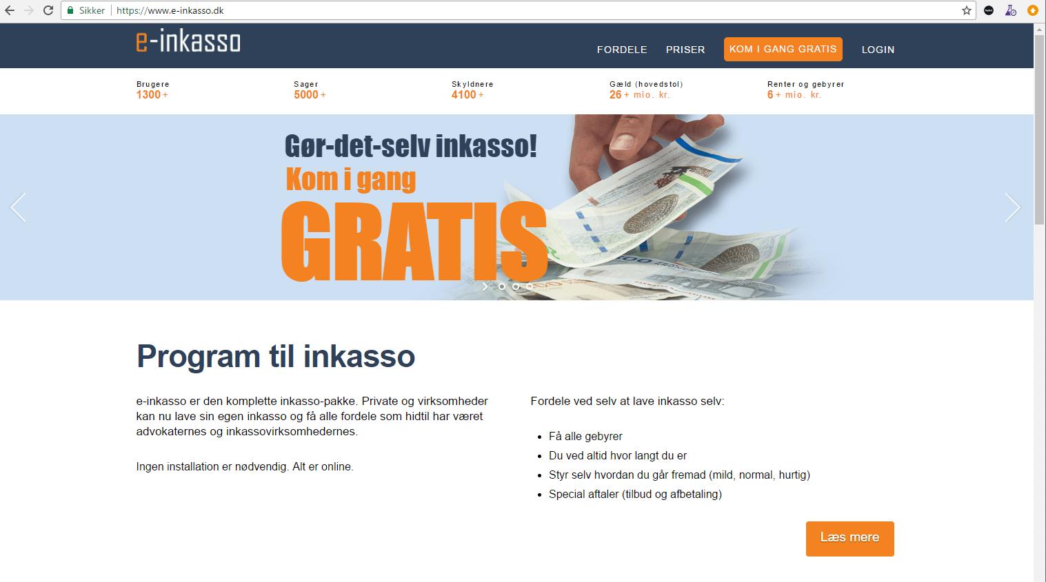 Opret en gratis bruger på e-inkasso.dk