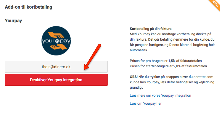 Yourpay integration Dinero